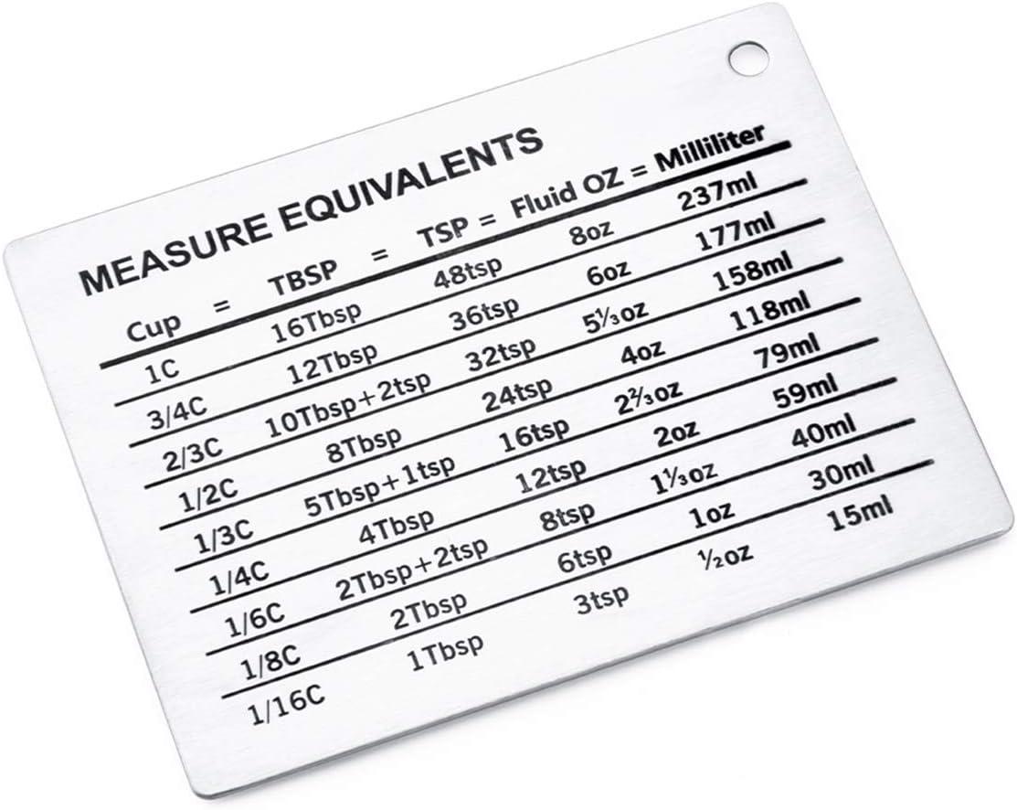 millilitres cuill/ères /à soupe cuill/ères /à caf/é oz Rehomy Tableau de conversion de mesure magn/étique en acier inoxydable pour r/éfrig/érateur Conversions pour tasses