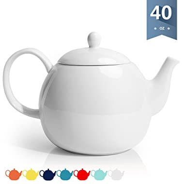 Sweese 2310 Porcelain Teapot, 40 Ounce Tea Pot - Large Enough for 5 Cups, White