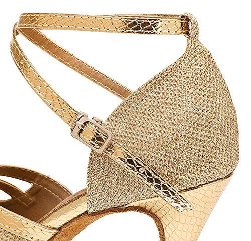 Stiletto Latin Shoes US Dance Glitter Honeystore Party Buckle Metal Peep B Wedding M Heel Toe Gold Shoes 8 Women's xOqwCICU0