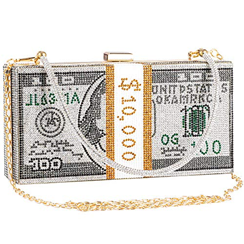 Molshine Bling Shiny Dollar Rhinestone Handbag,Money Clutch Purse,Evening Crossbody Bag,Party Shoulder Bag, for Women…