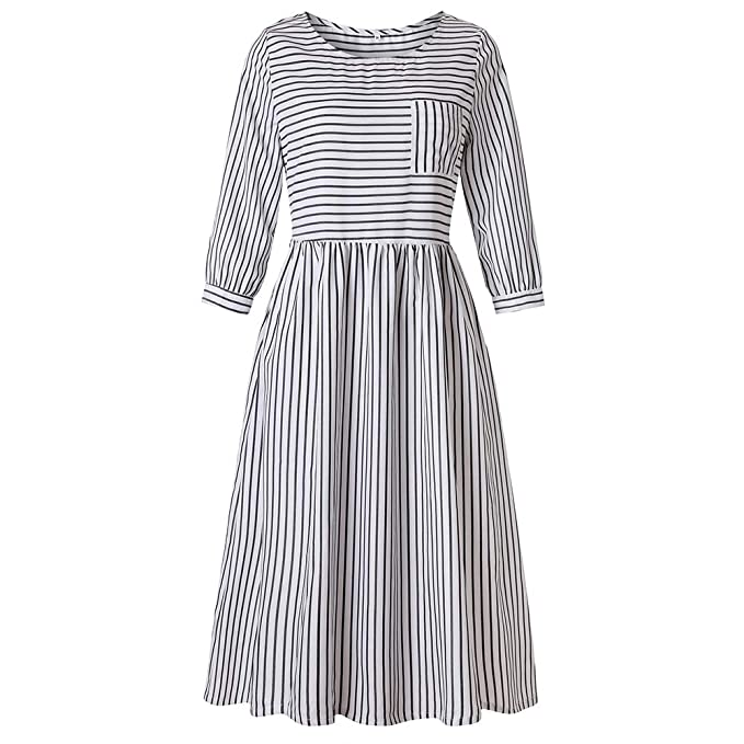 f0c298c8f2d2 Eleviey Women 3/4 Sleeve Casual Striped Midi Dress Loose Holiday Evening  Party Beach Dress