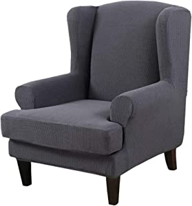 Y & J Stretch Wingback Chair Slipcover 2-Piece Sofa Cover Furniture Protector Couch with Elastic Spandex Fabric Armchair Chair Slipcover,Charcoal Gray
