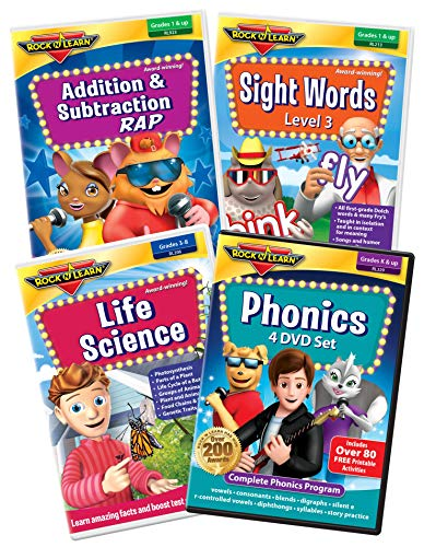1st Grade DVD Collection by Rock N Learn - Phonics, Sight Words, Addition & Subtraction and Life Science (Rock N Learn Addition And Subtraction Rock)