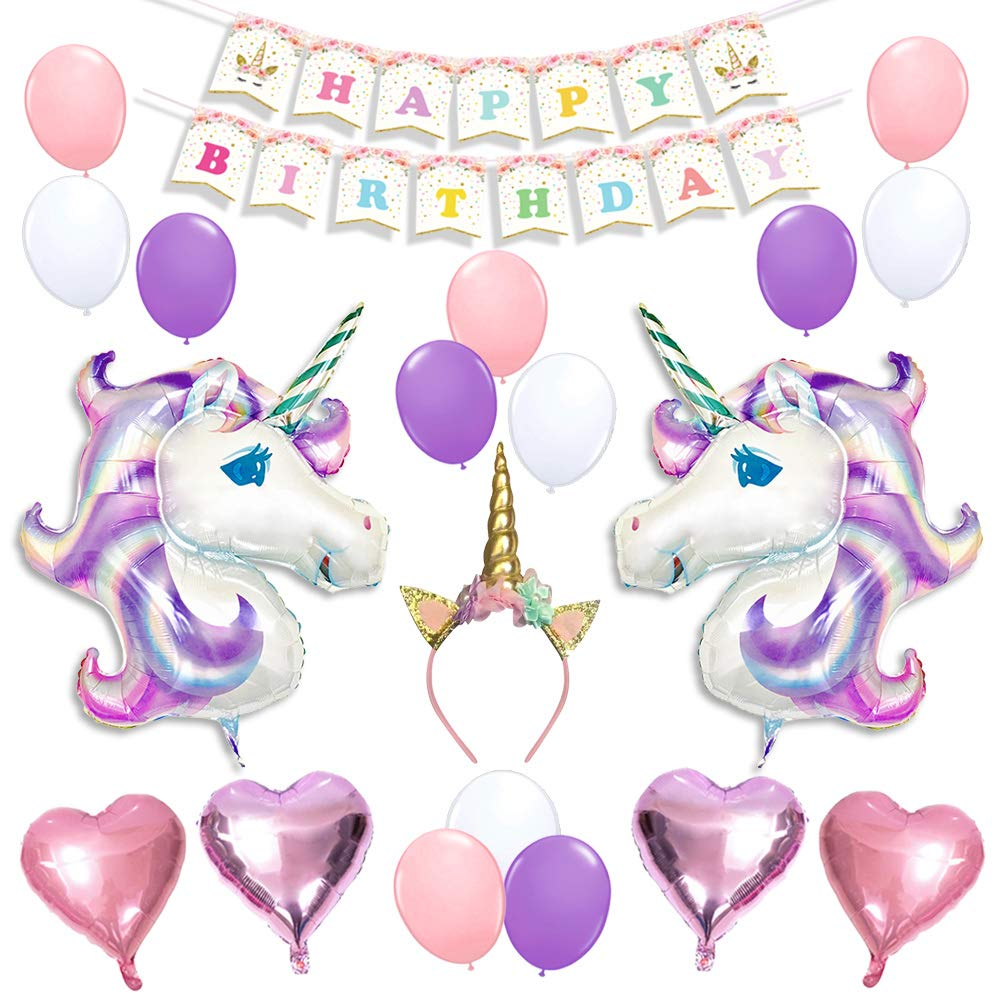 Unicorn Balloons Birthday Party Supplies for Kids Birthday ...