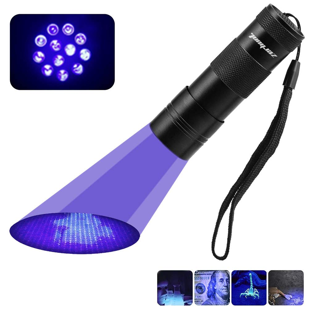 Black Light UV Flashlight, 12 LED UV Light Ultraviolet Blacklight Pet Urine Detector Stains Detector Torch Dog Cat Urine, Pet Stains, Bed Bugs, Scorpions, Machinery Leaks Inspection Zerhunt