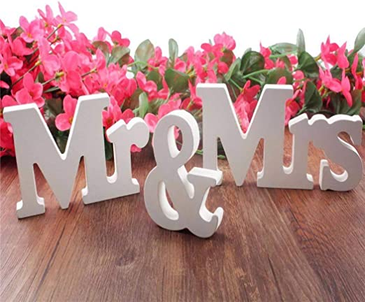 Amazon.com: IronBuddy Mr Mrs - Letras de madera en 3D ...