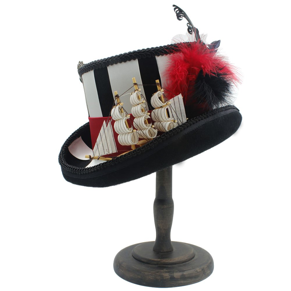 Battle Men Wool Top Hat For Women/Men Steampunk MAD Hater Bowler Caps With Sailing & Feather Decor Wide Brim (Color : Black, Size : 57CM) by Battle Men (Image #6)