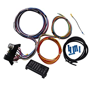 amazon com flameer 12 circuit basic 12v wiring harness fuse Chevy Wiring Harness