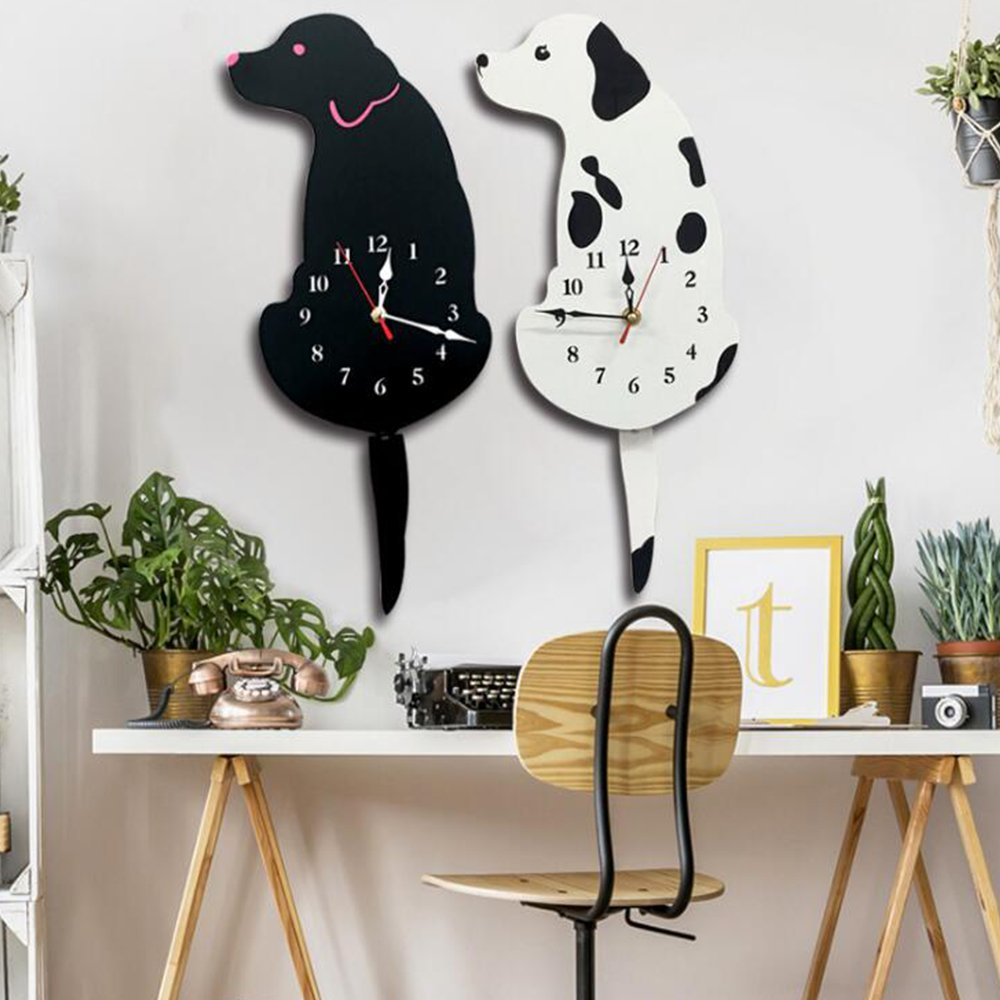 Amazon.com: Creative Wagging Tail Cat Automatic Swing Acrylic Mute Wall Clock (Black Red): Home & Kitchen