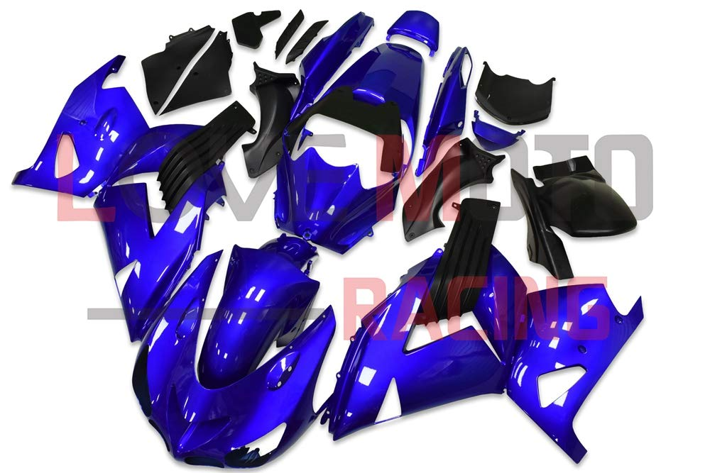 LoveMoto ブルー/イエローフェアリング カワサキ kawasaki ZX14R ZX-14R 2006 2007 2008 2009 2010 2011 ZZ-R1400 ABS射出成型プラスチックオートバイフェアリングセットのキット ブルー ブラック   B07KQ4H755