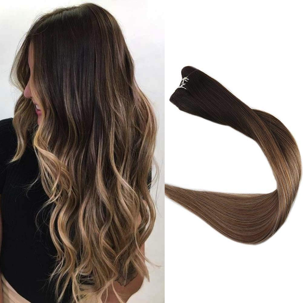 Full Shine 14 inch Sew in Hair Extensions Straight Hair Weft Ombre Balayage Hair Color #2 Fading to #6 and #18 Ash Blonde Hair Extensions Good Quality 100g/Package by Full Shine