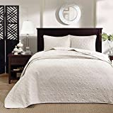 Extra Wide Comforter for King Size Bed 3 Piece Oversized King Bedspread to the Floor Set, Solid Ivory Cream Warm Tone, 120 Inches X 118 Inches, Coverlet Allover Quilt Drops Over Edge of King Beds, Microfiber, Stylish and Stitched Classic!