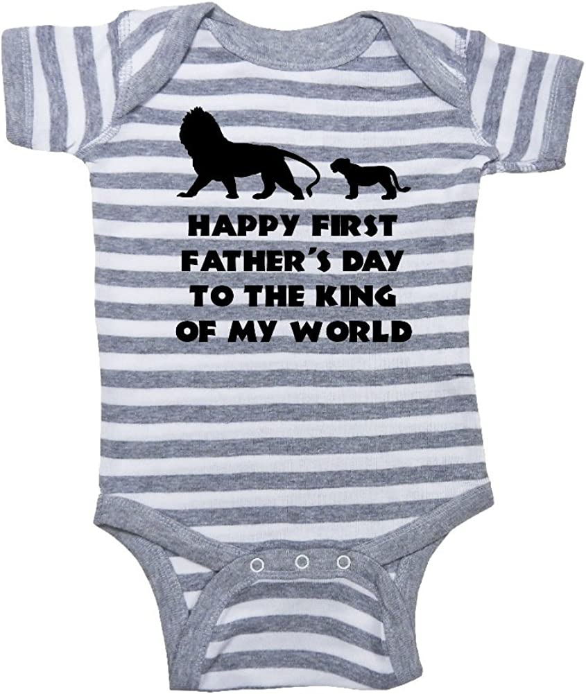 Happy First Fathers Day to The King of My World - Daddy Gift Fathers Day Baby Bodysuit Mashed Clothing Lion /& Cub