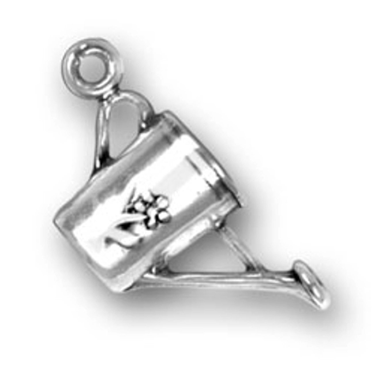 Sterling Silver Womens 1mm Box Chain 3D Plant Watering Can Decorative Flowers Pendant Necklace
