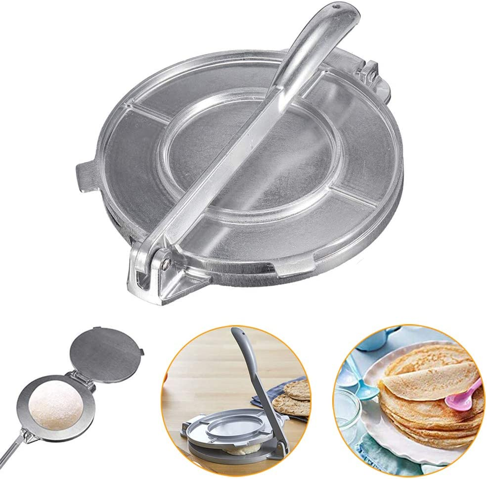 8 Corn Tortilla Press Cast Iron Heavy Duty Non Stick Tortilla Press Aluminum Alloy Tortilla Maker With 50 Pcs Oil Paper For Restaurant Home Kitchen Easy To Use Black Fajita Pans Cookware
