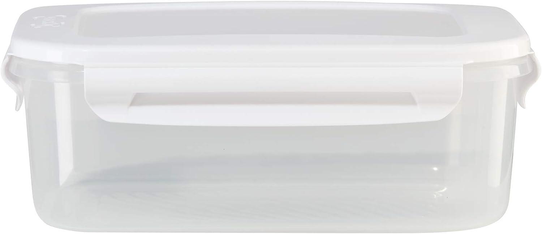 OGGI FreshLock Square Storage Container- 111oz, Airtight Food Storage, Pantry Organization, Dishwasher, Microwave & Freezer Safe, Clear/White