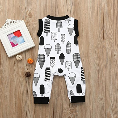 G-real Toddler Infant Baby Boy Girl Cute Ice Cream Print Sleeveless Romper Jumpsuit Bodysuit for 3-18M