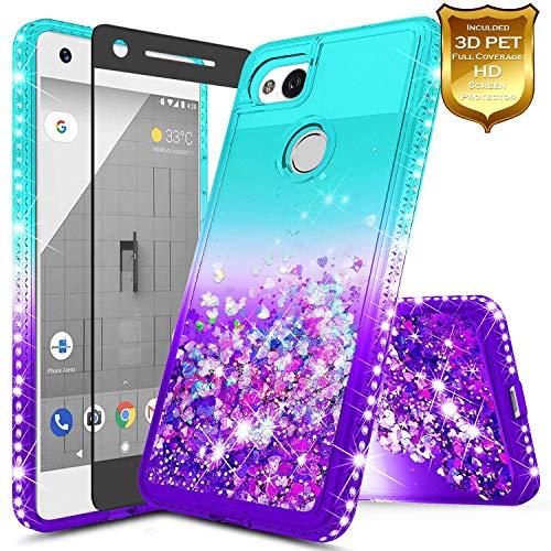 Pixel 2 XL Case w/[Full Cover Premium Soft Screen Protector] NageBee Glitter Liquid Quicksand Waterfall Flowing Sparkle Bling Diamond Girls Cute Compatible with Google Pixel 2 XL (2017) -Aqua/Purple