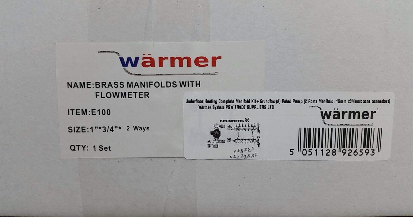 A 10 Ports Manifold, 12x1,6mm x3//4eurocone connectors Underfloor Heating Complete Manifold Kit+Grundfos Rated Pump