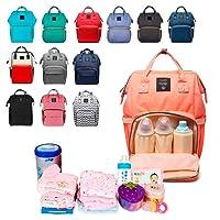 Mochila Pañalera Multi Bolsas Porta Biberón Mochila para viajes estilo pañalera con compartimentos especiales (Rosa)