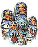 Horse Riding Nesting Doll Blue 7 Piece Babushka Exclusive One-Of-A-Kind Stacking Doll. Signed by Artist.