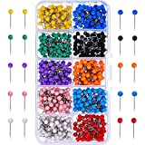 500 Pieces Map Push Pins Map Tacks Plastic Round Head Tacks with Steel Points 10 Colors (1/8 Inch)