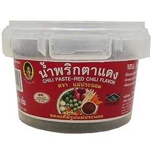 Best Chili Paste Red-chili Flavor (Nam Prik Ta-dang) Thai Original Spicy Herbal Food Net Wt 90 G (3.17 Oz) Mae-pranom Brand X 2 Jars