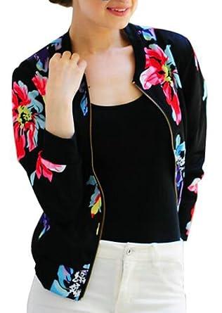 4ca50050181 today-UK Women Zipper Floral Printed Jacket Short Bomber Jackets Coats  Black XL  Amazon.co.uk  Clothing