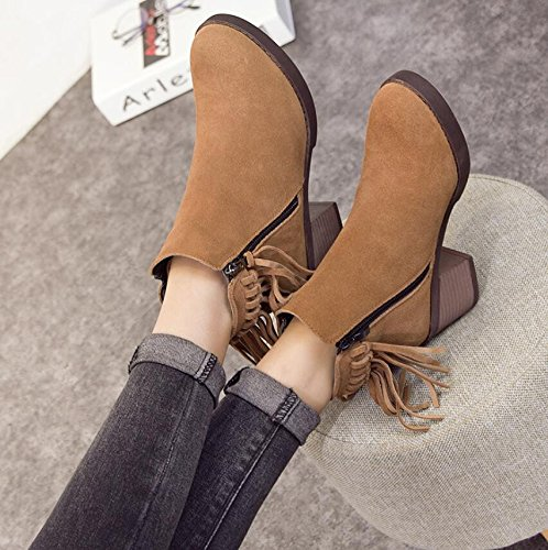 Head Heeled Flow 6Cm Short Boots Abrasive Brown Of High Female 39 KHSKX Thick With The Zippers Boots Martin The Round Boots zwnt5nqxT