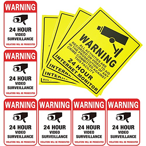 10 Pack 24 Hour Video Surveillance Sticker Sign Decal, Home Business Camera Alarm System Stickers Door Window Yard Sign, Indoor & Outdoor Use