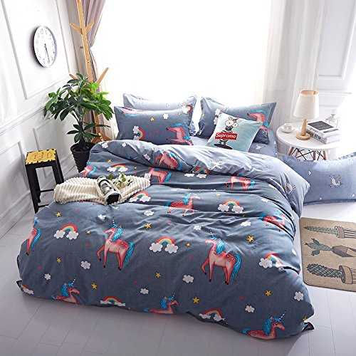 LAMEJOR Duvet Cover Sets Queen Size Summer Unicorn Pattern Children Bedding Set Comforter Cover(1 Duvet Cover+2 Pillowcases)
