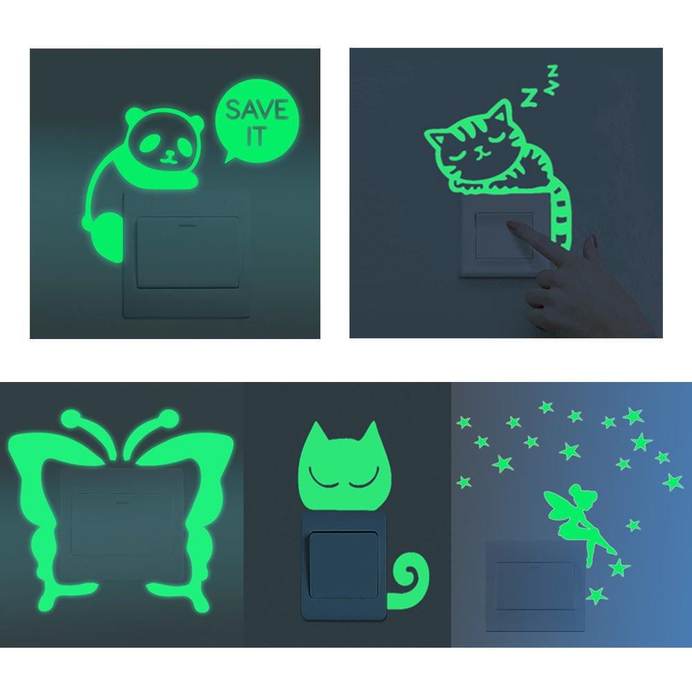 Fluoreszierende Schalter Aufkleber Glow in the Dark Wand Aufkleber Kinder Baby Zimmer Aufkleber Home Dekoration 5pcs S001 shilipai