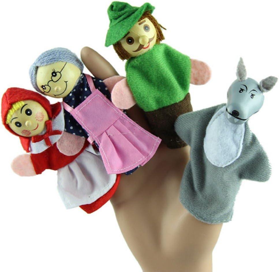 PAOLIAN 4Pcs Poco Caperucita Roja Marionetas del Dedo Juguete Educativo del Bebé