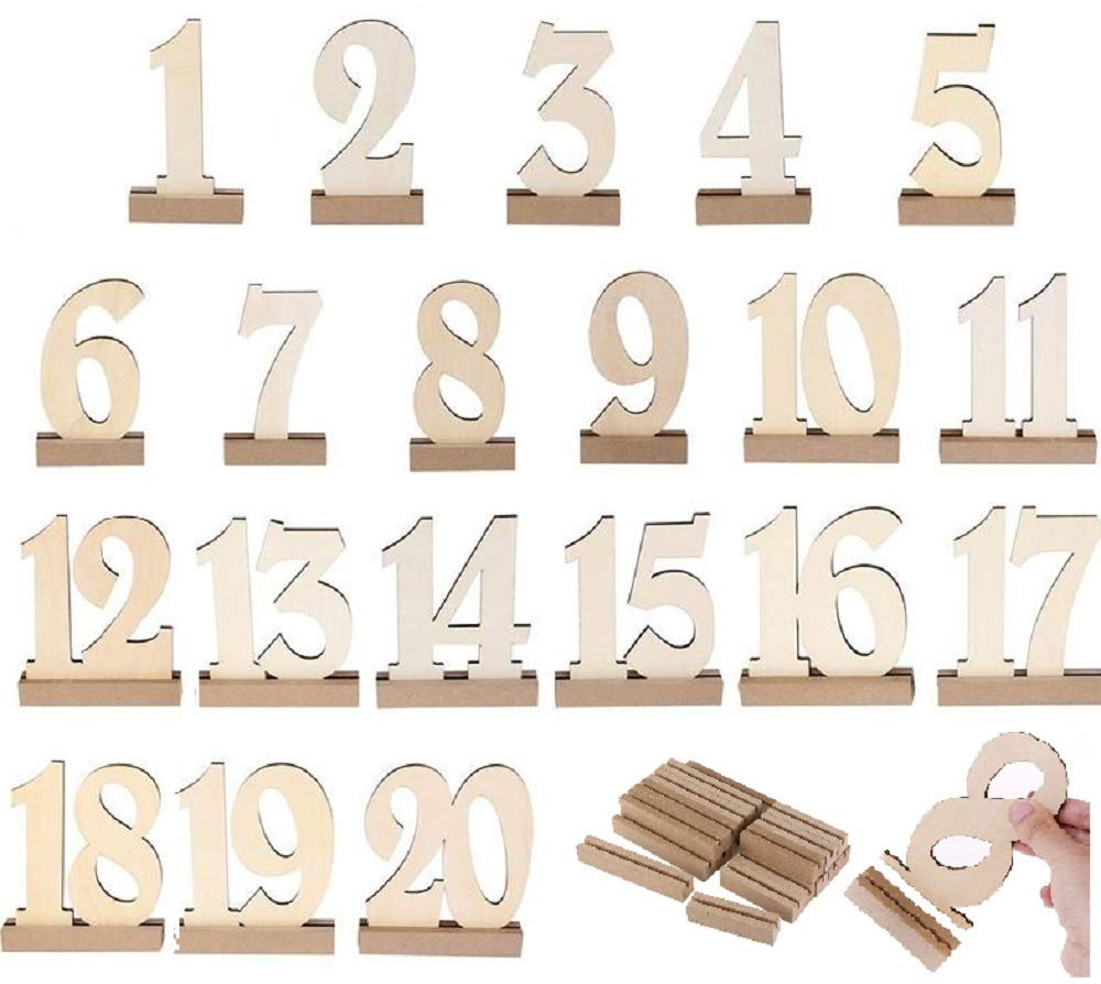 Wooden Wedding Table Numbers 1-20 by BestOffer | Wood Table Numbers with Holders Heavy Duty 20pcs Set for Party Birthday Banquet Catering Wedding Events Table Number Centerpiece