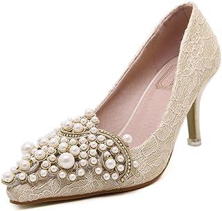 Kitzen Chaussures de Perles pour Femmes Chaussures en Dentelles Chaussures de Mariage Chaussures Hautes Taille de Sandale en Dentelle