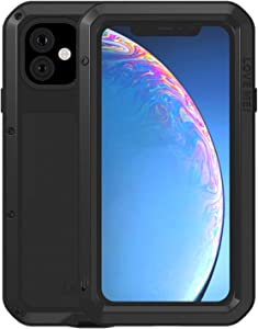 Simicoo iPhone 11 Pro Aluminum Alloy Metal Bumper Silicone Case Hybrid Military Shockproof Heavy Duty Armor Defender Tough Built-in Gorilla Glass Cover for iPhone 11 Pro (Black)