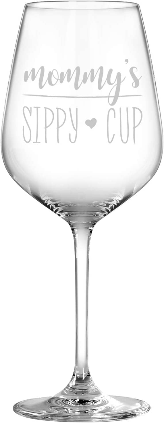 Mom Gift - Mommy's Sippy Cup Wine Glass, Funny Mom Wine Glass Gift for Mom New Mom First Mom Mom to be from Husband Son Daughter Kids Friends - Unique Gift for Mother's Day Birthday Christmas, 15Oz