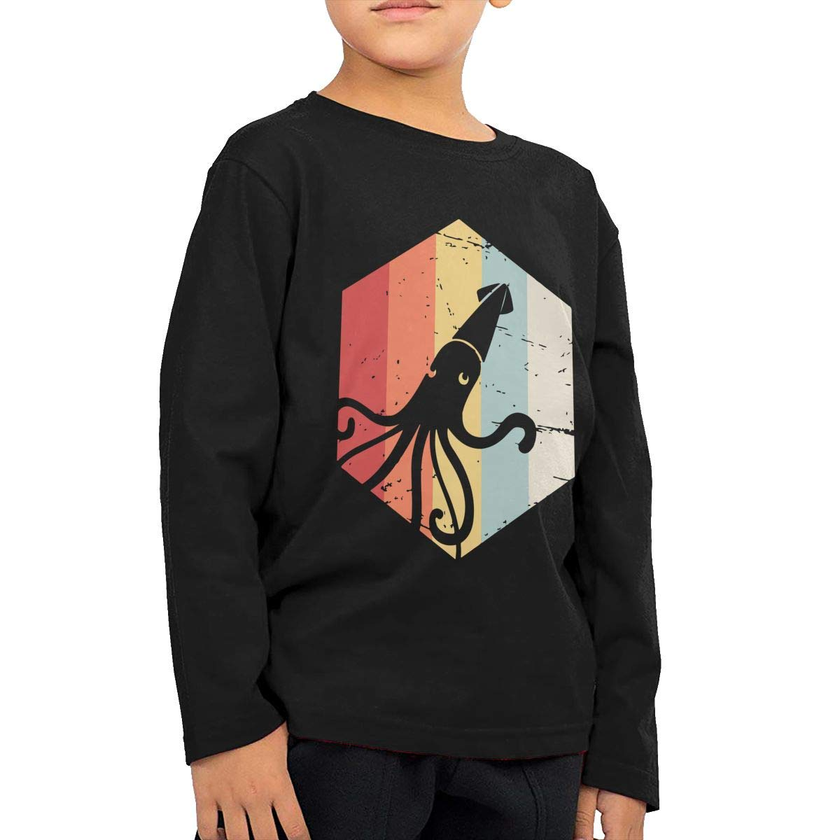 Baby Boys Kids Retro Kraken Squid Printed Long Sleeve 100/% Cotton Infants Tops