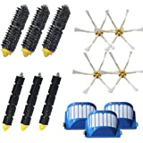 Amyehouse Accessory Replacement Kit of Bristle & Flexible Beater Brushes & 6-Armed Side Brushes & Aero Vac Filters for iRobot Roomba 600 Series 614 620 630 650 660 671 680 690 Vacuum Parts
