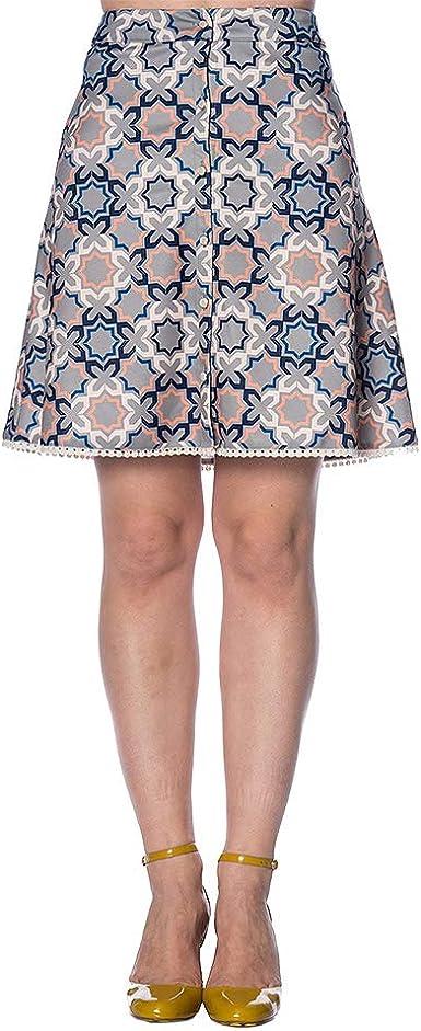 Banned Falda Corta Tipo Años 60 con Estampado de Azulejos ...