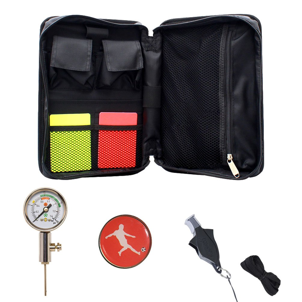Firelong Soccer Referee Kit Football Soccer Coach Ref Cards Whistle Ball Pressure Gague Colins in a Multi-pocket Carryig Bag
