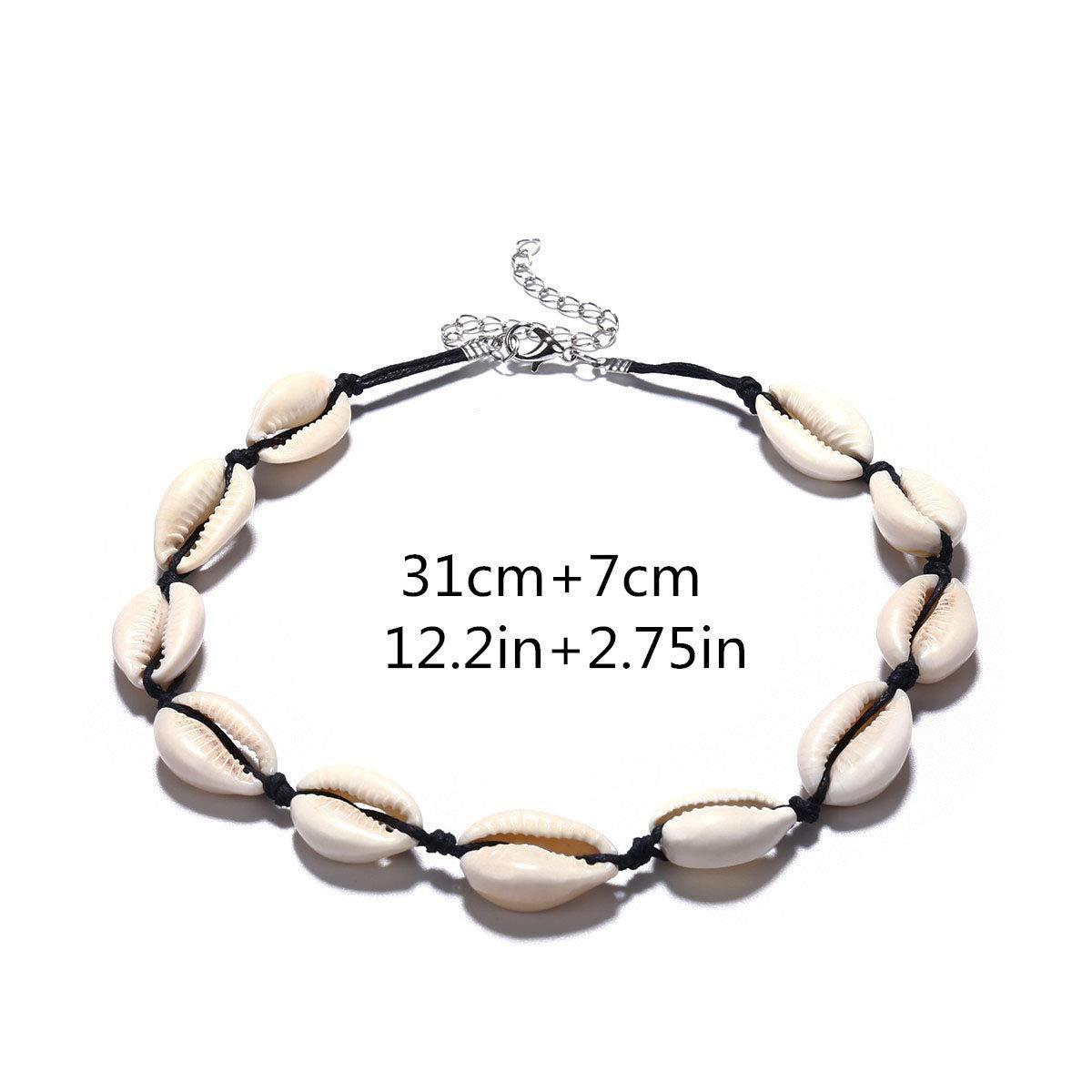 LIPROFE Natural Sea Shell Beads Handmade Hawaii Wakiki Beach Choker Necklace Adjustable Bracelet Anklet for Girls Ladies