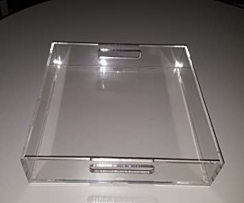 Clear Acrylic Lucite Serving Tray, Kitchen Serveware Platter with Handle  for Kitchen,Bar,