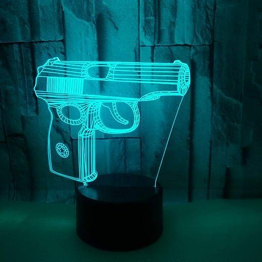 Cadeau De Noël Forme De Pistolet 3D Led Nuit Lumière