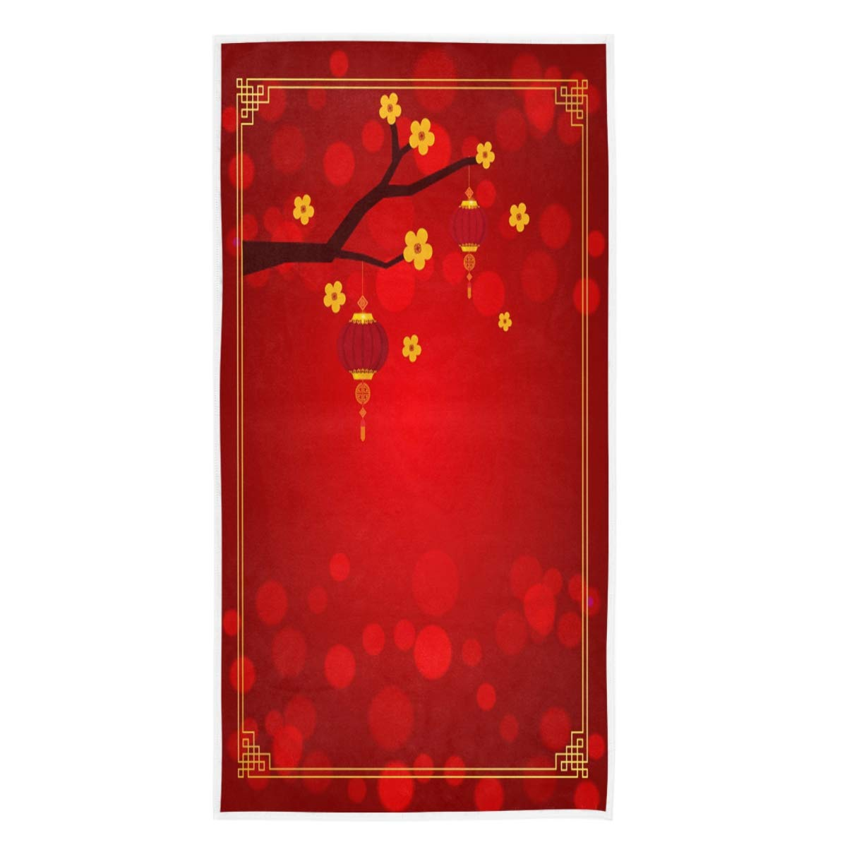 Hotel Naanle New Year Festive Chinese Plum Blossom Soft Highly Absorbent Guest Large Home Decorative Hand Towels Multipurpose for Bathroom Gym and Spa 16 x 30 Inches