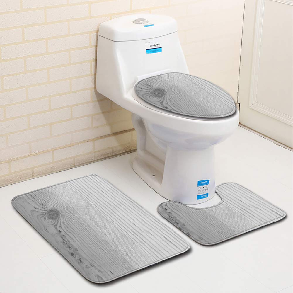 GYCC 3PCS Bath Rugs Set 1 U-Shape Contoured Toilet Mat u0026 2 Carpet Non Slip Soft Super Absorbent Plush Rugs for Tub Shower Bathroom-543