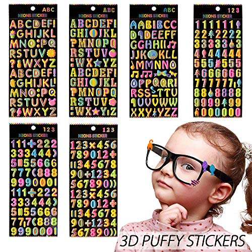 3D Puffy Stickers 6 Sheets Colorful Letter Alphabet Number Cute Foam Stickers 417 Pcs Scrapbook Birthday Decor Party Favors Reward Gift for Kids Toddlers
