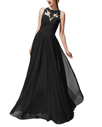Promworld Womens Formal Evening Gown Appliques Chiffon Prom Dresses Long Black US2