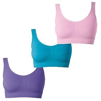 UnsichtBra Damen BH 3er Set Wohlfühl Bustier Tops | Bügelloser Soft Bra | Schlaf Bralettes in rosa, blau und lila