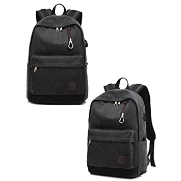 New Mens Womens Oxford Backpack Travel Laptop Bag With USB Charging Port Satchel